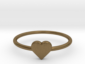 Knuckle Ring with heart, subtle and chic. in Natural Bronze