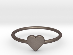 Knuckle Ring with heart, subtle and chic. in Polished Bronzed Silver Steel