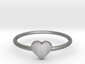 Knuckle Ring with heart, subtle and chic. in Natural Silver