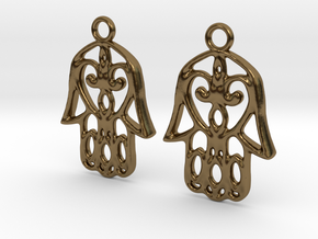 Hamsa Hand Earrings in Polished Bronze
