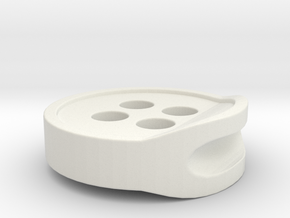 3D PRINTED HEADPHONE CABLE BUTTON CLIP 2.0 in White Natural Versatile Plastic