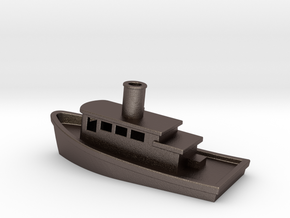 Tug boat in Polished Bronzed Silver Steel