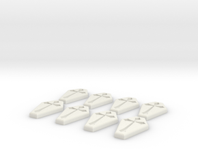 Coffin Buttons in White Natural Versatile Plastic