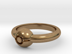 Pokeball Ring-Thin Band (Edit size in description) in Natural Brass