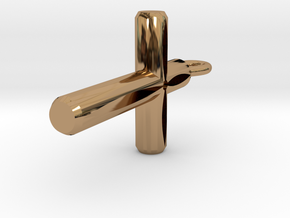 Cutout Cylinder Cross Pendant in Polished Brass