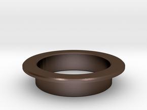 Pinball Start Button Dress Ring - Large Lip in Polished Bronze Steel