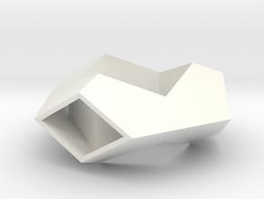 Hexagonal Torus Pendant in White Processed Versatile Plastic