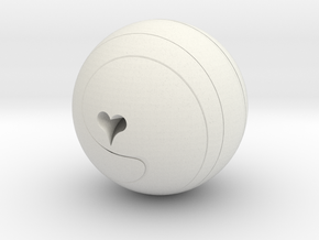 Helix Sphere with heart motif ~ small in White Natural Versatile Plastic