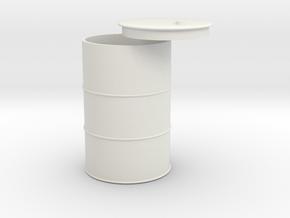 1/18 55 gallon drum in White Natural Versatile Plastic