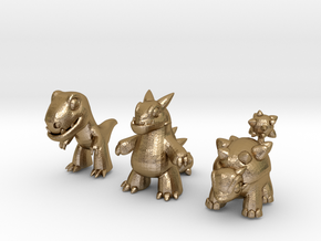 Miniature Dinos in Polished Gold Steel