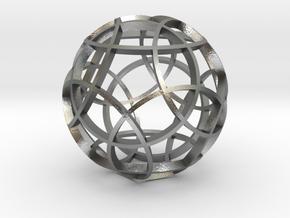 Rhombicosidodecahedron (narrow) in Natural Silver