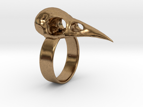 Realistic Raven Skull Ring - Size 11 in Natural Brass