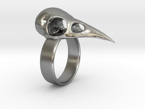 Realistic Raven Skull Ring - Size 11 in Natural Silver