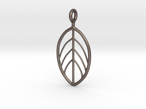 Apple Leaf Pendant in Polished Bronzed Silver Steel