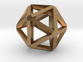 Icosahedron Thick Wireframe 25mm in Natural Brass