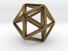 Icosahedron Thinner 25mm in Natural Bronze