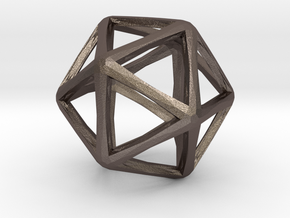 Icosahedron Wireframe Catmull Clark  30mm in Polished Bronzed Silver Steel