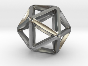 Icosahedral Pendant  28mm in Natural Silver