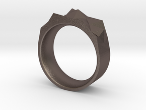 Triangulated Ring - 15mm in Polished Bronzed Silver Steel