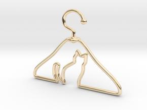 Cat Hanger Pendant in 14K Yellow Gold