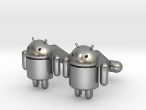 Android Cufflinks in Natural Silver
