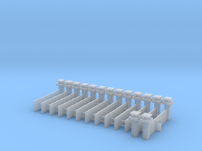 1/700 Prison Camp Wall Set (x14) in Smooth Fine Detail Plastic
