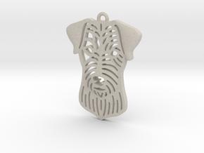 Cute pet pendant. in Natural Sandstone