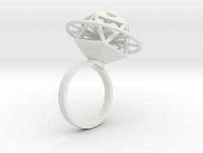 Ring Ikosahedron in White Natural Versatile Plastic
