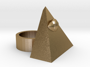 The All Seeing Eye Ring in Polished Gold Steel
