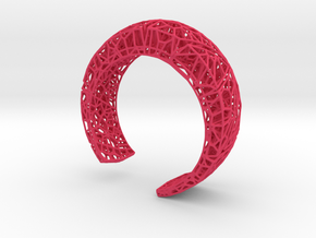 VoronoiBracelet v019 Small/Smart/Symmetrical in Pink Processed Versatile Plastic