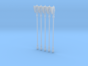 Techno-Poleaxe 001a (x5) in Smooth Fine Detail Plastic