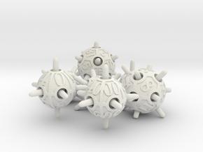 Sputnik Dice Set With Decader in White Natural Versatile Plastic