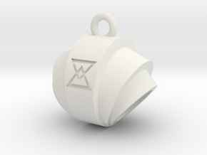 Pendant- Runestone Small- Holder in White Natural Versatile Plastic