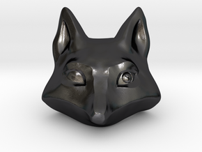 Large Foxhead Medallion in Polished and Bronzed Black Steel