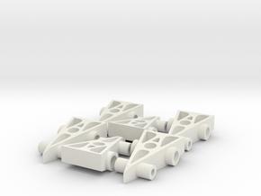 6 F1 Car Game Pieces in White Natural Versatile Plastic