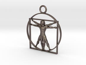 vitruvian man 5cm in Polished Bronzed Silver Steel