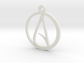 Atheist Pendant in White Strong & Flexible