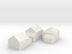 1/350 Village Houses 1 in White Natural Versatile Plastic