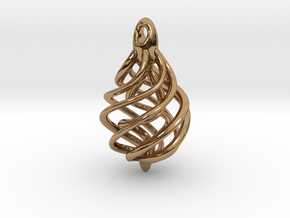 DNA Teardrop Pendant in Polished Brass