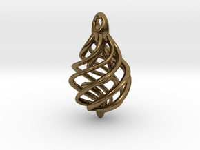DNA Teardrop Pendant in Polished Bronze