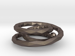 Ring (single-stranded with three turns) in Polished Bronzed Silver Steel