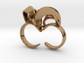 Ribbon Double Ring 8/9 in Polished Brass