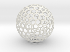 honeycomb sphere - 60 mm in White Natural Versatile Plastic