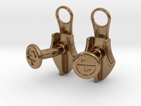 Zipper Cufflinks in Natural Brass