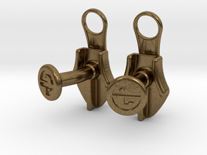 Zipper Cufflinks in Natural Bronze