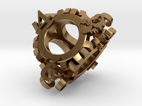 Steampunk Gear d4 in Natural Brass