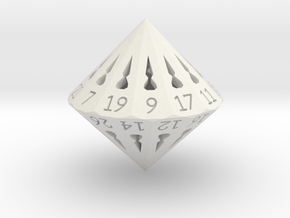 26 Sided Die - Regular in White Natural Versatile Plastic
