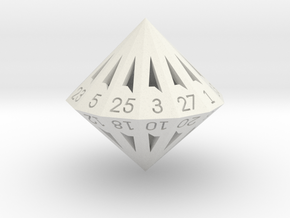 28 Sided Die - Regular in White Natural Versatile Plastic