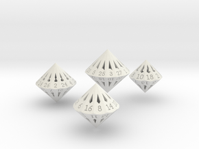 Large Dipyramidal Dice Set in White Strong & Flexible