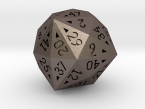 48 Sided Die - Regular in Polished Bronzed Silver Steel